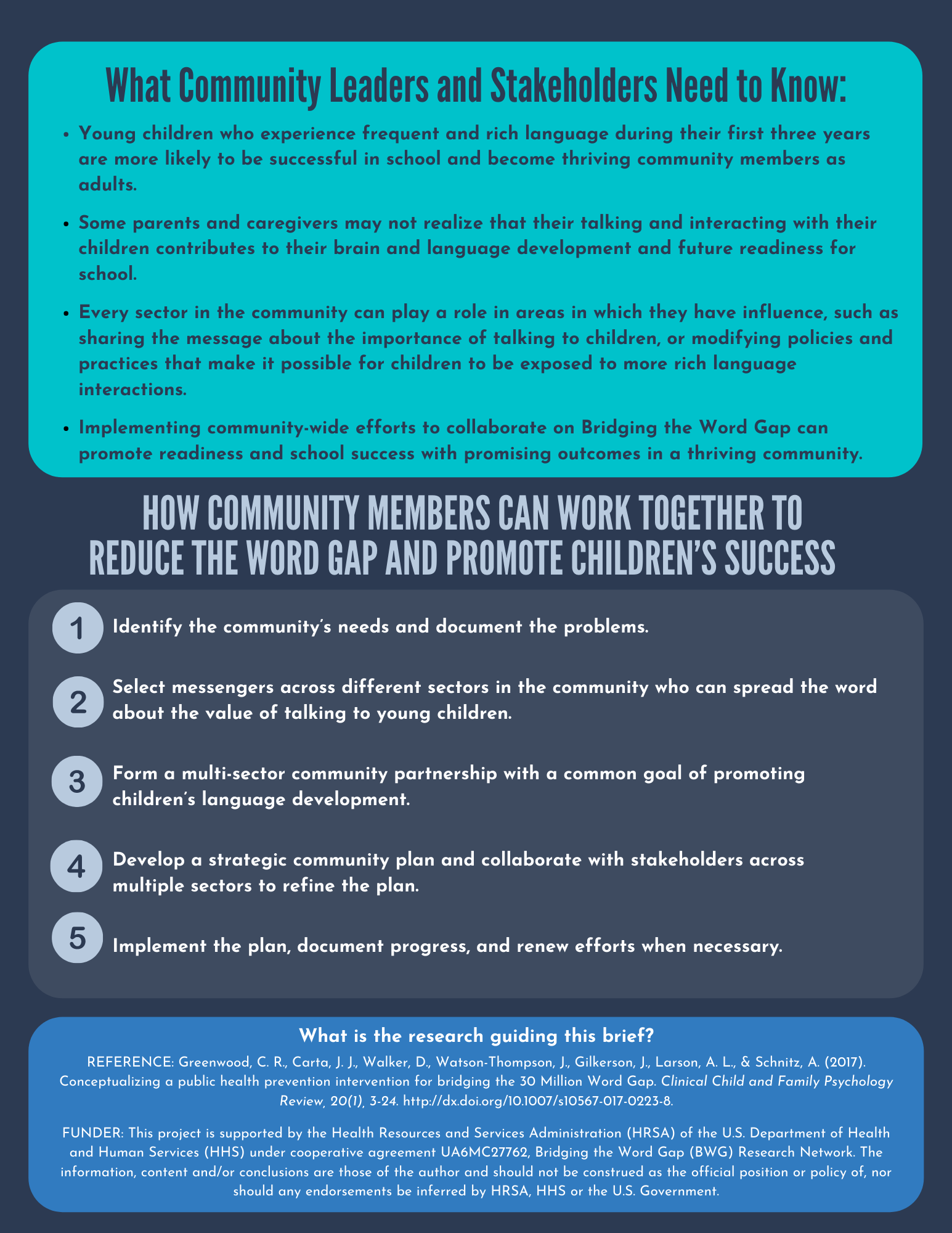 This is the 2nd page of the bridging the word gap community action plan